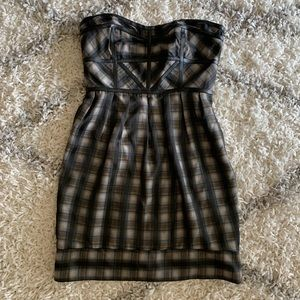 Andrew Marc Plaid Strapless with Leather Detail